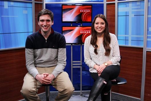 USG candidates Gerard Basalla and Danielle Di Scala pose for a photo in The Lantern TV studio on Feb. 25. Credit: Lantern file photo