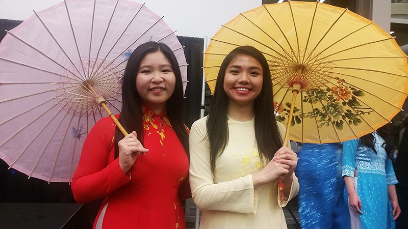 Tiffany To (left) and Jenny Huynh at the annual Vietnamese Student Association culture show on March 5. Credit: Ashley Wilkinson / Lantern Reporter