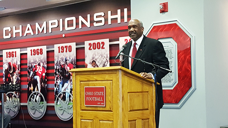 Ohio State Vice President and Director of Athletics Gene Smith announces a $42-million renovation project to Ohio Stadium during a press conference at the Ohio Stadium Recruit Room on March 29. Credit Michael Huson | Campus Editor