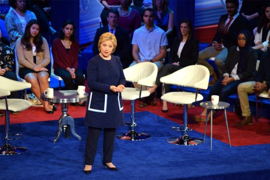 Former Secretary of State Hillary Clinton fields a question at the CNN Democratic town hall on March 13 at Ohio State's Mershon Auditorium. Sen. Bernie Sanders also attended the event. Credit: Robert Scarpinito | Managing Editor for Design