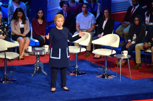 Hillary Clinton responds to a question posed to her by an audience member at CNN's Democratic town hall on March 13 at Ohio State's Mershon Auditorium. Credit: Robert Scarpinito | Managing Editor for Design