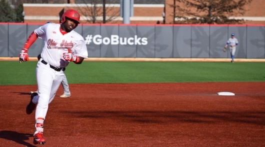 Junior left fielder Ronnie Dawson (4) rounds the bases after hitting a home run during OSU's 12-1 win over Hofstra on March 18 at Bill Davis Stadium. Credit: Giustino Bovenzi | Lantern reporter