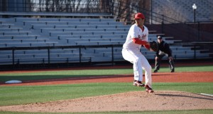 Junior Tanner Tully (16) winds up a pitch during OSU's 12-1 win over Hofstra on March 18 at Bill Davis Stadium. Credit: Giustino Bovenzi   Lantern reporter