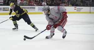 OSU junior forward Nick Schilkey (7) during a game against Michigan on May. 6 at Nationwide Arena. Credit: Lantern File Photo