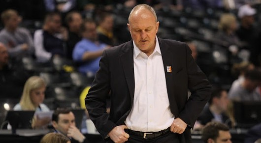 OSU coach Thad Matta stands on the sideline during a second-round Big Ten tournament game against Penn State on March 10 in Indianapolis. OSU won 79-75. Credit: Samantha Hollingshead | Photo Editor