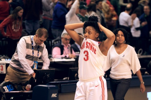 OSU sophomore guard Kelsey Mitchell (3) walks off the floor in despair after losing in the Big Ten tournament semifinals to Michigan State, 82-63, on March 5 in Indianapolis. Credit: Kevin Stankiewicz | Oller Reporter
