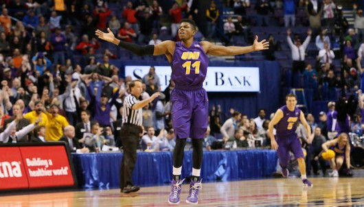 Northern Iowa guard Wes Washpun reacts after making the game-winning jump shot during the Missouri Valley Conference tournament championship game on March 6 at the Scottrade Center in St. Louis. Credit: Courtesy of TNS