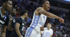 North Carolina's Brice Johnson (11) celebrates after blocking a shot during the second round of the NCAA tournament at PNC Arena in Raleigh, North Carolina, on March 19. Credit: Courtesy of TNS