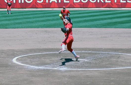 OSU freshman pitcher Morgan Ray (6) throws a pitch during a game against Maryland. Credit: Gabriella DiGiovanni | Lantern Photographer