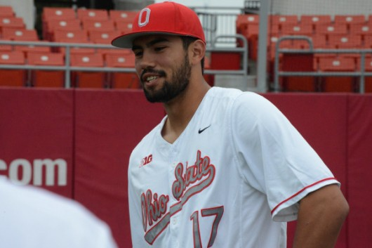 OSU redshirt junior outfielder Jacob Bosiokovic (17) during the baseball team's photo day on Sept. 30 at Bill Davis Stadium. Credit: Courtesy of OSU