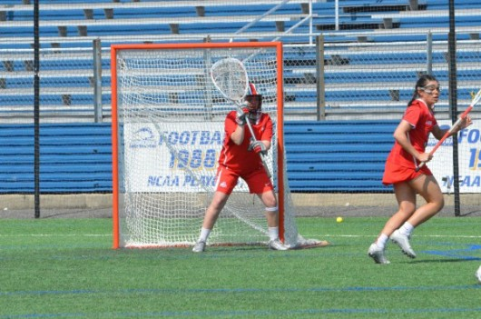 OSU senior goalie Katie Frederick (1) during a game against Hofstra on March 27 in Hempstead, New York. Credit: Courtesy of OSU
