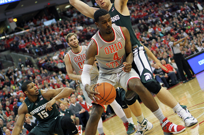 OSU freshman forward Daniel Giddens (4) during a game against Michigan State on Feb. 23 at the Schottenstein Center. Credit: Samantha Hollingshead | Photo Editor