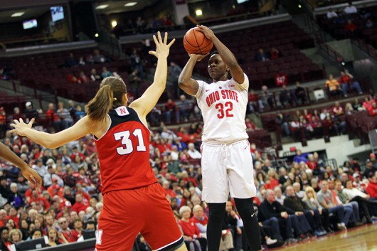 OSU junior forward Shayla Cooper (32) takes a shot during a game against Nebraska on Feb. 18 at the Schottenstein Center. Credit: Samantha Hollingshead | Photo Editor