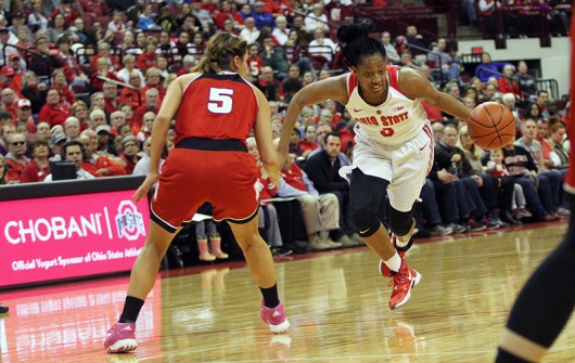 OSU then-sophomore guard Kelsey Mitchell (3) dribbles the ball during a game against Nebraska on Feb. 18 at the Schottenstein Center. Credit: Lantern File Photo