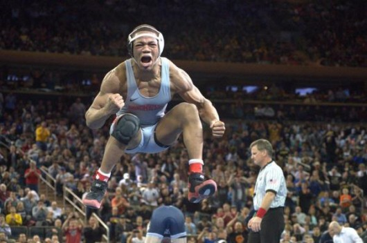 OSU freshman Myles Martin celebrates after winning the 2016 NCAA Wrestling Championships on March 19 at Madison Square Garden in New York. Credit: Courtesy of OSU