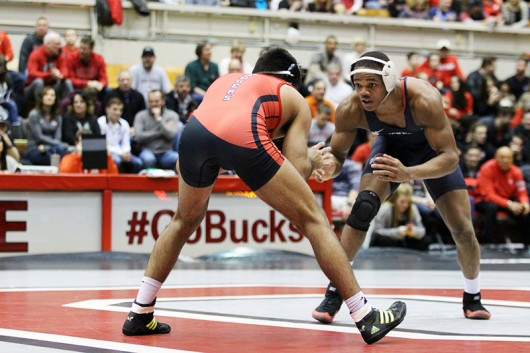 OSU freshman Myles Martin during a match against Wisconsin on Feb. 13 at St. John Arena. Credit: Lantern file photo