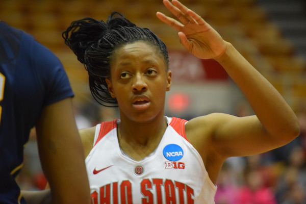 OSU sophomore guard Kelsey Mitchell (3) during a second-round NCAA tournament game against West Virginia on March 20 at St. John Arena. Credit: Courtesy of OSU