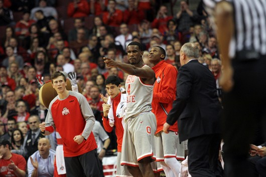 OSU players cheer during a game against Michigan State on Feb. 23 at the Schottenstein Center. Credit: Samantha Hollingshead | Photo Editor