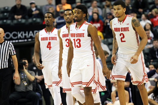 OSU players during a game against Penn State in the Big Ten tournament on March 10 in Indianapolis. Credit: Samantha Hollingshead | Photo Editor