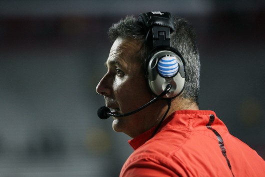 OSU coach Urban Meyer during a game against Rutgers on Oct. 24 at High Point Solutions Stadium in Piscataway, New Jersey. Credit: Samantha Hollingshead / Photo Editor