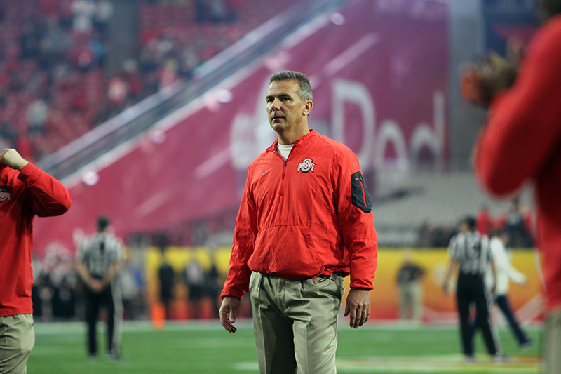 OSU coach Urban Meyer during the Fiesta Bowl against Notre Dame on Jan. 1 at University of Phoenix Stadium in Glendale, Arizona. OSU won 44-28. Credit: Samantha Hollingshead | Photo Editor