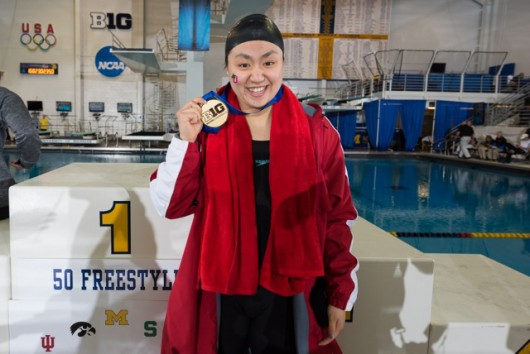 OSU sophomore Liz Li poses for a picture at the Big Ten championships. Credit: Courtesy of OSU