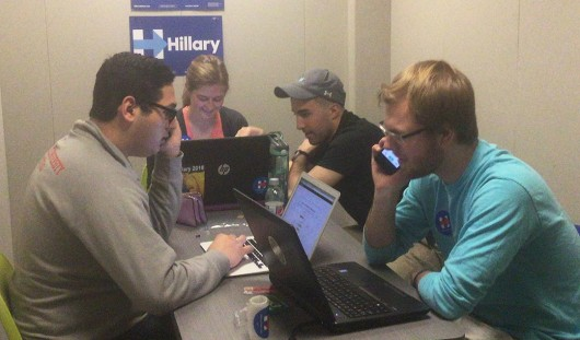 Ohio State students phone banking for Hilary Clinton in Smith-Steeb Hall on March 9. Credit: Nick Roll