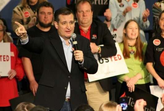 Sen. Ted Cruz speaks to supporters during a rally at the Northland Performing Arts Center in Columbus, Ohio on March 13. Credit: Michael Huson / Campus Editor