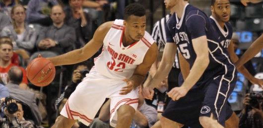 Ohio State center Trevor Thompson backs down defender against Penn State on Jan. 25 at the Schottenstein Center. Credit: Lantern File Photo