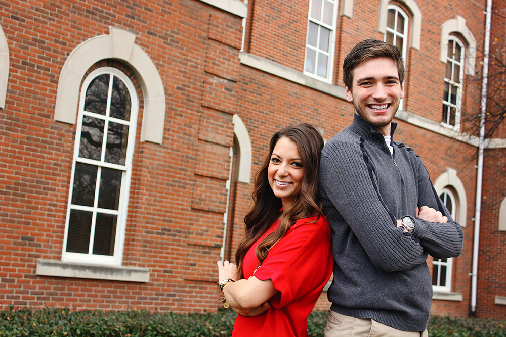 USG candidates Danielle Di Scala (left) and Gerard Basalla (right) pose for a photo at OSU. Credit: Courtesy of Braden Heyd