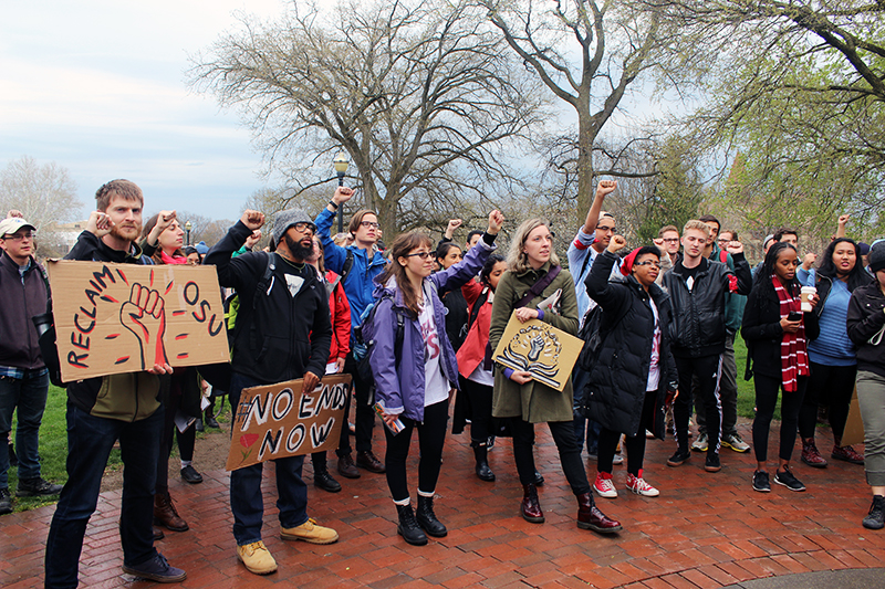 Students gather near Thompson Library before staging a sit-in at Bricker Hall at Ohio State on April 6. Credit: Mitch Hooper| Lantern reporter