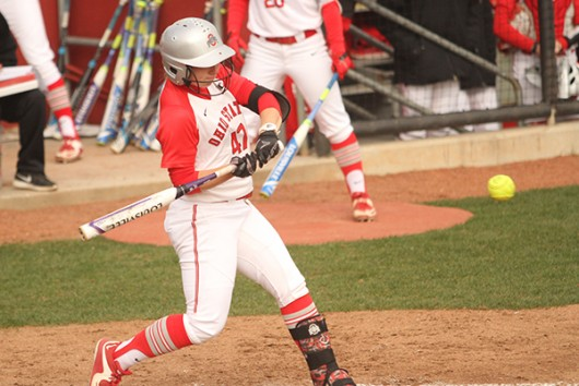 OSU junior Anna Kirk (47) during a game against Penn State on April 6 at Buckeye Field. Credit: Samantha Hollingshead | Photo Editor