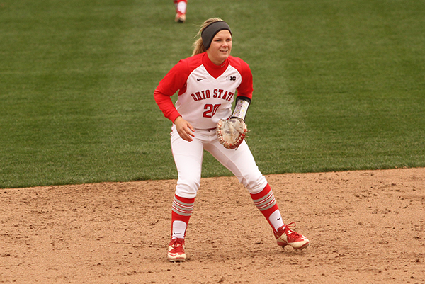OSU freshman Emily Clark (20) during a game against Penn State on April 6 at Buckeye Field. Credit: Samantha Hollingshead | Photo Editor