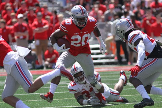 OSU redshirt freshman running back Mike Weber (20) carries the ball during the spring game on April 16 at Ohio Stadium. Credit: Lantern file photo