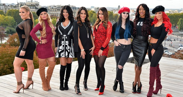 WWE Divas attend a photocall to promote their show 'Total Divas' on October 8, 2015 in Paris, France. Credit: Courtesy of TNS