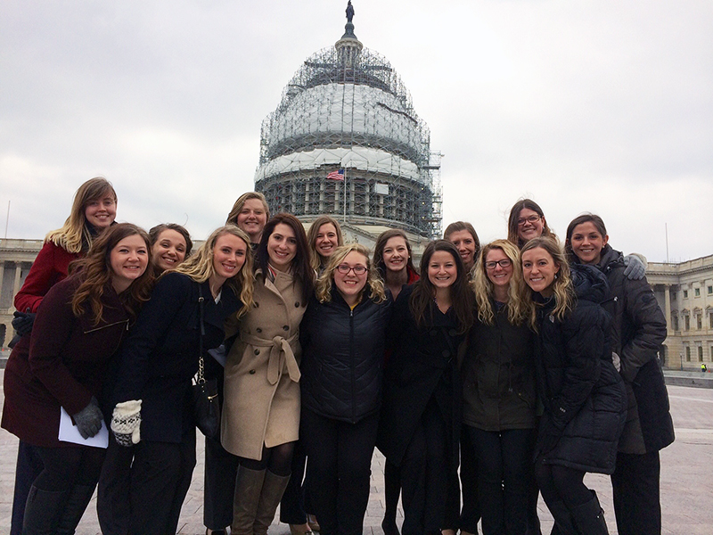 OSU Student Academy of Audiology members pose at Capitol Hill during their March 2016 trip. Credit: Courtesy of Kayla Fuzer