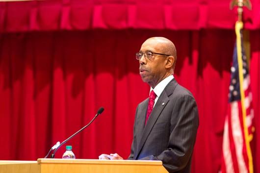 University President Michael Drake speaks at the OSU University Address at the William B. Saxbe Law Auditorium on Jan. 21. Credit: Ed Momot | For The Lantern