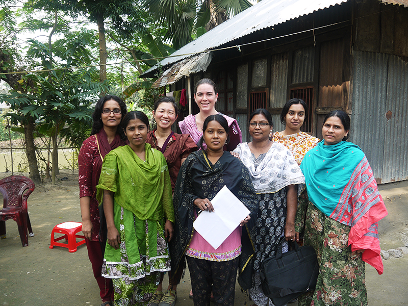 Elisabeth Root (center back) and her team have been collecting data in a number of households in Bangladesh for the last six years. Credit: Courtesy of Nobuko Mizoguchi