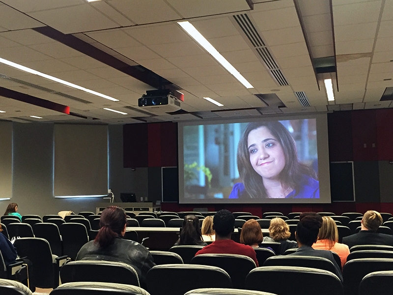 "OSU community members gather to watch ""The Hunting Ground"" in the Ohio Union on April 11 during Sexual Assault Awareness Month. Credit: Shangquan Shi 