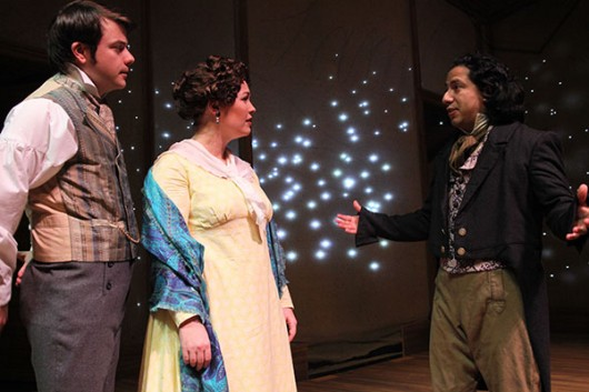 (left to right) Zack Meyer as Charles Lamb, Ambre Shoneff as Mary Lamb and Benito Lara as S.T. Coleridge and in The Ohio State University Department of Theatre's production of The Coast of Illyria. Credit: Courtesy of Matt Hazard