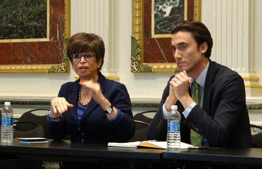 Valerie Jarrett and Kyle Lierman discuss sexual assault on college campuses with collegiate reporters in the White House's Indian Treaty Room on April 28.