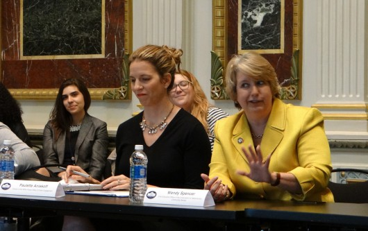 Paulette Aniskoff and Wendy Spencer field questions about civic engagement at the White House's Indian Treaty Room on April 28.