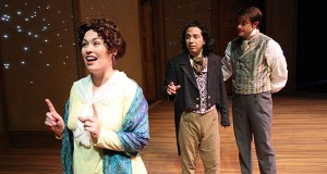 (left to right) Ambre Shoneff as Mary Lamb, Benito Lara as S.T. Coleridge and Zack Meyer as Charles Lamb in The Ohio State University Department of Theatre's production of The Coast of Illyria. Credit: Courtesy of Matt Hazard