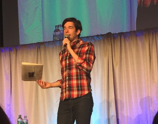 John Mulaney performs a stand-up routine in the Archie Griffin Grand Ballroom on April 18. Credit: Courtesy of Anne Hohler.