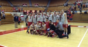 The OSU men's volleyball team poses for a picture after defeating Lewis in five sets for the MIVA championship at St. John Arena on April 23. Credit: Matt Wilkes   Senior Lantern reporter