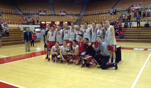 The OSU men's volleyball team poses for a picture after defeating Lewis in five sets for the MIVA championship at St. John Arena on April 23. Credit: Matt Wilkes | Senior Lantern reporter