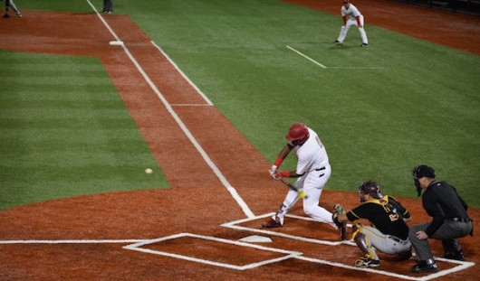Junior left fielder Ronnie Dawson (4) takes a swing during a game against Bethune-Cookman. Credit: Giustino Bovenzi | Lantern reporter