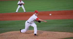OSU sophomore Seth Kinker (37) fires a pitch during a game against Morehead State at Bill Davis Stadium on April 12. OSU won 1-0. Credit: Giustino Bovenzi | Lantern reporter