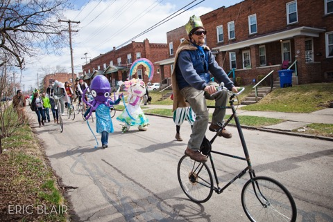 Residents of the South of Hudson area parade down the street as a part of last year's Fool's Parade on April 11 2015. Credit: Courtesy of Eric Blair