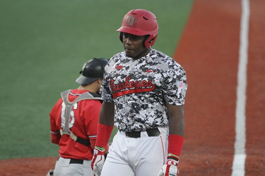 OSU junior left fielder Ronnie Dawson walks away from the plate during a game against Rutgers on April 15 at Bill Davis Stadium. Credit: Lantern File Photo
